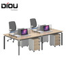 Modern and simple desk metal frame office desk for 2 person with cabinets