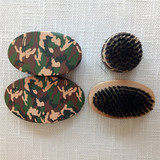 Factory Price 360 Curve Military Green Wood Handle  Curved Wave Brush With Boar Bristle