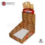 Recycle cardboard display box for crackers CDU-TRAY-025,Food Display Counter,Coin Display Box