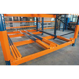Push back pallet racking for warehouse storage