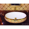 Chinese bathroom wash oval Gold plated art basin Ceramic high quality modern Countertop art wash basin sink in hotel