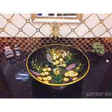 Bathroom Ceramic round good sale new decal dark hand paintting art no hole wash basin sink