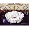 2018 bathroom hot sale sanitary ware round shape no hole above simple fashion black design wash sink art marble basin