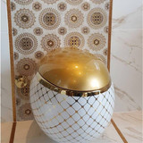 Luxury golden ceramic egg shape bathroom wall hung toilet bowl from china