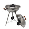 18 inch Outdoor Trolley Charcoal BBQ Grill with Wooden Handle