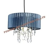 Foshan JNY Lighting Grey Voile Ribbon Wrapped Pendant Shade with Acrylic Droplets