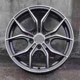 15寸改装轮毂8X100-114.3黑色车面内槽或内槽蓝色透明漆