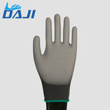 Eco-Friendly PU coated black nylon knitted top fit gloves