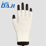 Safety working white knitting nylon half finger protect glove