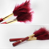 Privated label Wood handle Turkey feather long hair powder makeup brush