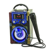 Spot Portable BT Speaker Stock Double Karaoke Wooden Gift Audio Player with Microphone and colorful light