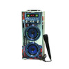 Double 4 inch blue tooth active karaoke wooden portable trolley speaker