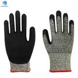 HPPE EN388 standard level 5 cut resistant industrial safety gloves
