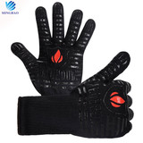 High quality aramid printing double silicone heat resistant kitchen bbq grill gloves