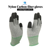 Labor Hand Protection Nylon Carbon Fiber Anti Static PU Fingertip Gloves