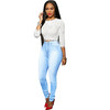 Wholesale women high waist skinny fit light blue jeans pants