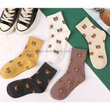 Manufacturers direct sales of women's socks in autumn and winter new cotton leisure cartoon bears breathable women's socks