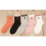 Mid-tube sweat-absorbing kitten embroidery combed cotton Japanese breathable quality boutique ladies'cotton socks