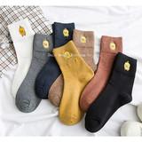 Adult Female Socks New Cute Bear Rabbit Embroidery Female Socks Fashionable Little Yellow Duck Cotton Female Socks
