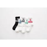 Alphabetic ladies stockings ankle two bars pure cotton socks wholesale children