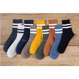 Autumn and Winter New Style Socks for Men with Two Bars for Men's Socks Korean Edition Academy Wind Sports Socks Stripes for Men's Socks Tide
