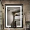 Hospitality lighted LED bathroom vanity mirror with mirror heater