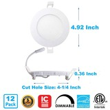 "4"" 9 Watt LED Super Thin Snap-In Round Recessed Downlight - 750 Lumens - 4000K - 120V"