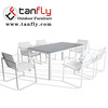 Metal Outdoor Patio Dining Bistro Sets with Rectangle Table and 6 Backyard Garden Dining Chairs