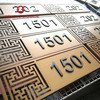 interior wall mounting house number sign room 3D number golden sign board