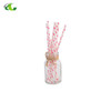 Durable Flamingo white bottom red long drinking paper straws