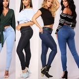 Ladies elastic slim jeans pants women trouser