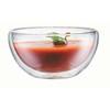Heat resistant double glass bowl creative round transparent fruit salad bowl western food shake dessert bowl