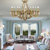 Crystal Chandelier Pendant Light French Empire Ceiling Light Fixture Antique Bronze for Dining Room, Living Room and Bedroom