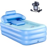 Inflatable Adult Bath Tub, Free-Standing Blow Up Bathtub with Foldable Portable Feature for Adult Spa with Electric Air Pump (High-Density PVC)