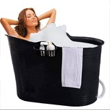 Bath Bucket Black Seat Bath for Adults and Children Plastic Mobile Bathtub For Small Bathrooms and Under the Shower XL Version 200 Liters