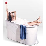 Mobile bathtub for adults XL, ideal for the small bathroom, 123 x 51 x 63 cm, stylish and colourful (white)