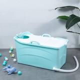 Mobile bath foldable bathtub adult children 92cm with soap man, neck pillow, stool. Practical and portable (blue)
