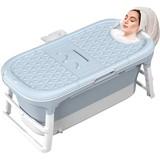 Foldable bathtub Adults, 128X62X52cm large portable bathtub with storage baskets, room inside foldable plastic bath for adult children